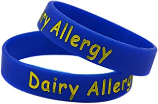 Sunling 2 5 Pack Kids Friendly Food Dairy Allergy Awareness Medical Alert Bracelet Children Silicone Emergency Wristband,16cm-Wonderful Life Saver