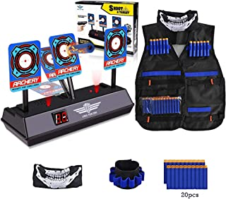 Electronic Digital Target,Kids Tactical Vest for Nerf Gun N-Strike Elite Series -Refill Bullets,Tactical Vests, Face Masks,Wrist Bands& Auto-Reset Intelligent Light Sound Effect Scoring Targets