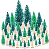 Kiiwah 60pcs Mini Arbolitos de Navidad Decorados, Mini Pino de Navidad Arboles Pequeños para Decoración de Navidad Mesa Micro Paisaje (Verde Oscuro, Verde, Blanco)
