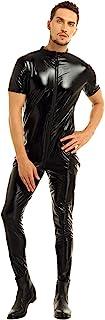 QinCiao Men's Suspenders Wrestling Singlet Leotard Zipper Thong Bodysuit Jumpsuit Briefs Costume