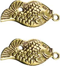 2Pcs Antique Fish Charms Pendants Copper Ocean Fish Marine Sea Creatures Keychain Beads Pendants for DIY Jewelry Making Cr...