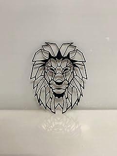 TKC Wooden Lion Geometric Wall Art (Black) (17x13inch)
