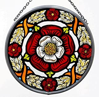 Decorative Hand Painted Stained Glass Window Sun Catcher/Roundel in a Tudor Rose Design.