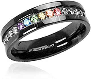(1) Jet Black Rainbow Super Full String Clear & Rainbow Ring. Gay & Lesbian Pride Stainless Steel Ring. Wedding Marriage or Engagement band CZ Stones. LGBT Pride Jewelry