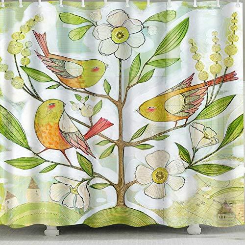 123456789 waterdicht douchegordijn voor het ophangen van vogels voor huis en badkamer