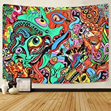 Psychedelic Arabesque Tapestry Abstract Hippie Tapestries Fantasy Trippy Tapestry Fractal Colorful Monster Tapestry for Room (51.2 x 59.1 inches)