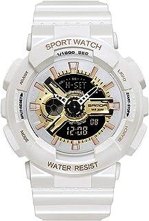 ساعة يد نسائية عسكرية مقاومة للماء مزودة بإضاءة LED رقمية رياضية إلكترونية ساعة يد للرجال من كوارتز (لون : Whiterosegold)