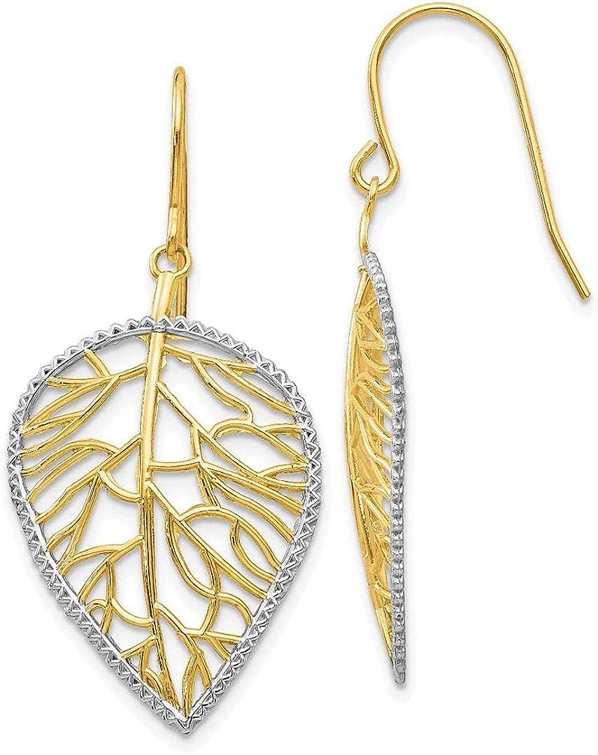 Jewelry-14k & Rhodium Leaf Drop Earrings