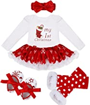iEFiEL Baby Girls Christmas Costume Bodysuit Headband Leg Warmer Shoes Tutu Dress up Party Outfits