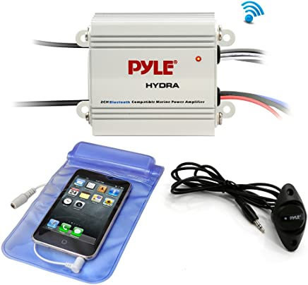 $44 » Pyle Auto 2-Channel Bridgeable Marine Amplifier - 200 Watt RMS 4 OHM Full Range Stereo with Wireless Bluetooth & Powerful Prime Speaker - High Crossover HD Music Audio Multi Channel System PLMRMB2CW