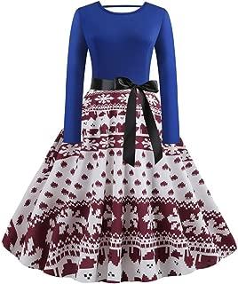 LENXH Ladies Print Vintage Dress Christmas Mosaic Dress Fashion Casual Beach Dress Long Sleeve Elegant Dress
