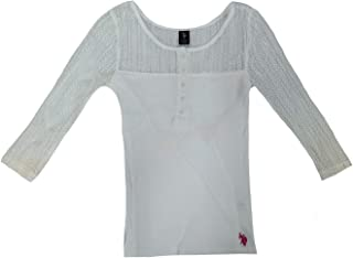 U.S. Polo Assn. Junior's 3/4 Sleeve Ribbed Tshirt with Lace Design