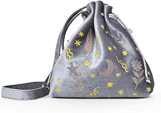 Docooler Women Velvet Bucket Bag Embroidery Drawstring Pouch Cute Shoulder Crossbody Bags Burgundy/Grey/Black