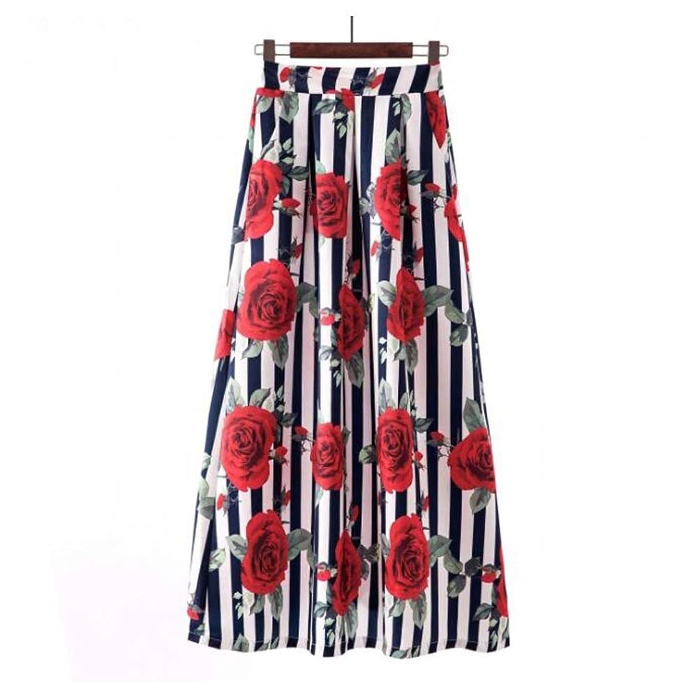 服を着るシャイのためにCokeshaX 女性の印刷ハイウエストスカートレトロビッグスカートファッションスカートを印刷 (Color : 21, Size : XXL)