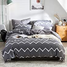 Bedroom Bedding Simple Active Printing And Dyeing Kit Three-piece Pillowcase *2 Quilt Cover Gray Wavy White Cotton Comfortable (Size : Queen)