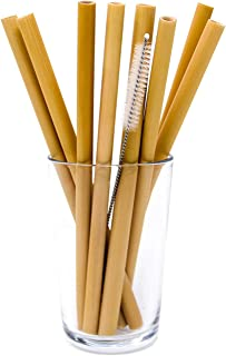 ORGANIC BAMBOO DRINKING STRAWS 7.5 Inch | REUSABLE | ECO FRIENDLY | BPA-FREE BIODEGRADABLE NATURAL ALTERNATIVE TO PLASTIC, GLASS AND STAINLESS STEEL | SET OF 10, CLEANING BRUSH AND CUSTOM BAG