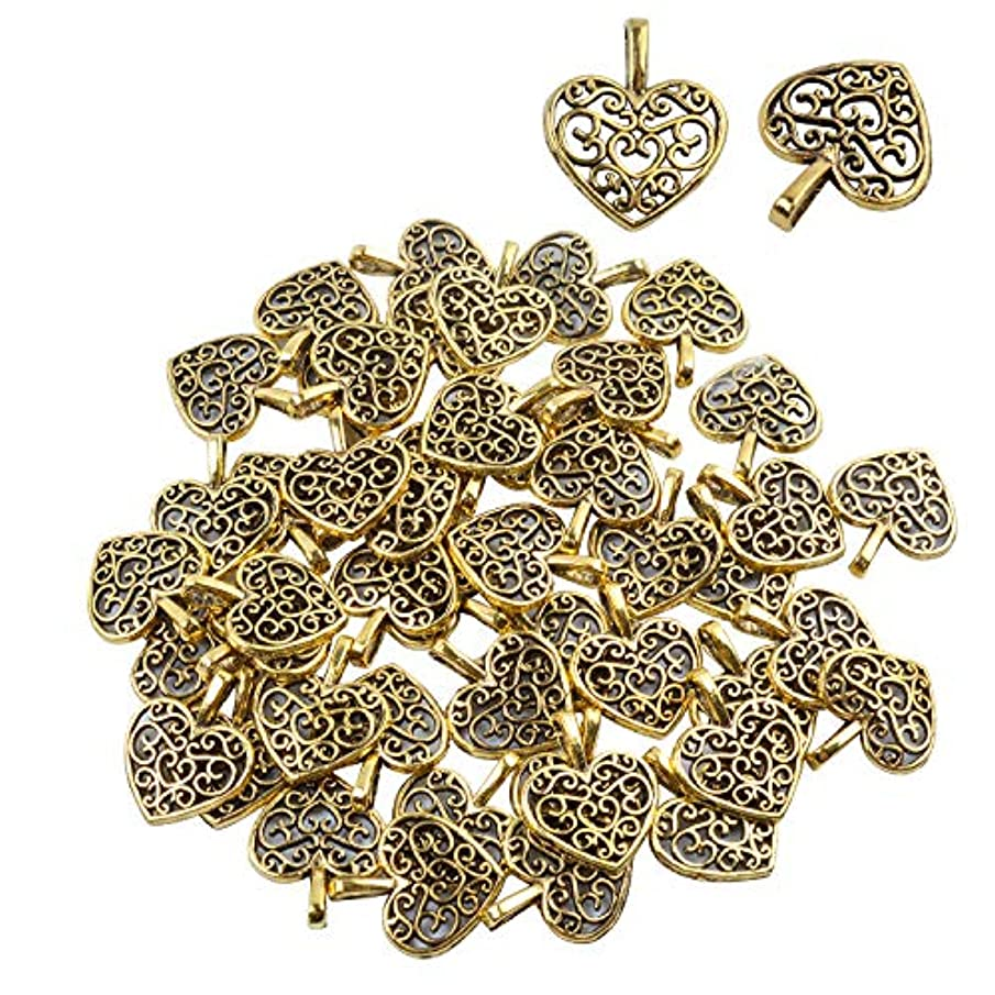 Bonayuanda Pack of 50 Antique Gold Beads DIY Heart Charms Pendants Bracelet Necklace Jewelry Making Accessory