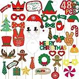 Joy Bang Christmas Photo Booth Props 48PCS Christmas Photo Props Holiday Party Photo Booth Props Kit for Kids Adults Xmas Photography Decorations