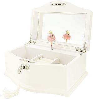 TIMLOG Girls Ballerina Musical Jewelry Box with Lock, Wooden Jewelry Organizer Jewelry Box Storage Case with Mirror for Gi...