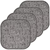 Sweet Home Collection Chair Cushion Memory Foam Pads Honeycomb Pattern Slip Non Skid Rubber Back Rounded Square 16' x 16' Seat Cover, 4 Pack, Broadway Gray/Black