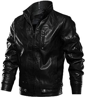 FONMA Men's Autumn Winter Casual Outwear Long Sleeve Top Stand Zipper Leather Jacket