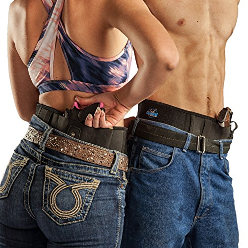 Nature's Wild Safeguard Concealed Carry Pistol Holster - Comfortable Neoprene Belly Band Holster for Men and Women - Small fits up to a 33 inch Waist - Black CCW Gun Belt (ambidextrous)