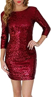Alician Women Slim Sequined Backless Round Collar Dress Delicate Long Sleeve Tight Dress