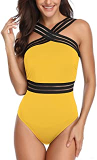 Womens Tummy Control One Piece Swimsuits Front Crossover Slimming Mesh Bathing Suit