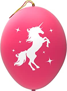 John & Judy 12 Pink Unicorn Punch Balloons | for Birthday Gift Bags | Kids Games | Princess Parties and Unicorn Party Supplies | Extra Large, Eco Friendly Natural Latex Punch Balls for Girls