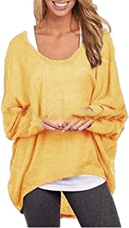 Womens Regular-Fit Sweater Casual Thicken Oversized Baggy Long Sleeve Pullover Shirts Tops