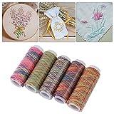 Hilo de coser de degradado de 5 piezas, juego de hilos uso múltiple para...