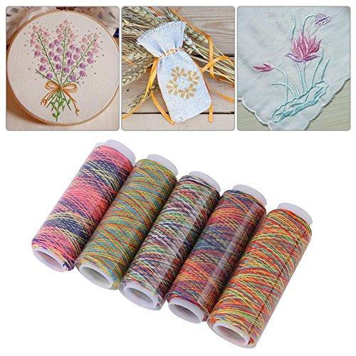 Hilo de coser de degradado de 5 piezas, juego de hilos uso múltiple para bordar acolchado, accesorio de prenda para hilos de coser de máquina de coser a mano