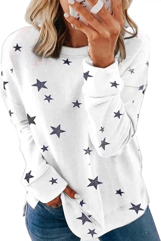Acelitt Women Long Sleeve Crewneck Sweatshirt Side Split Pullover Tops