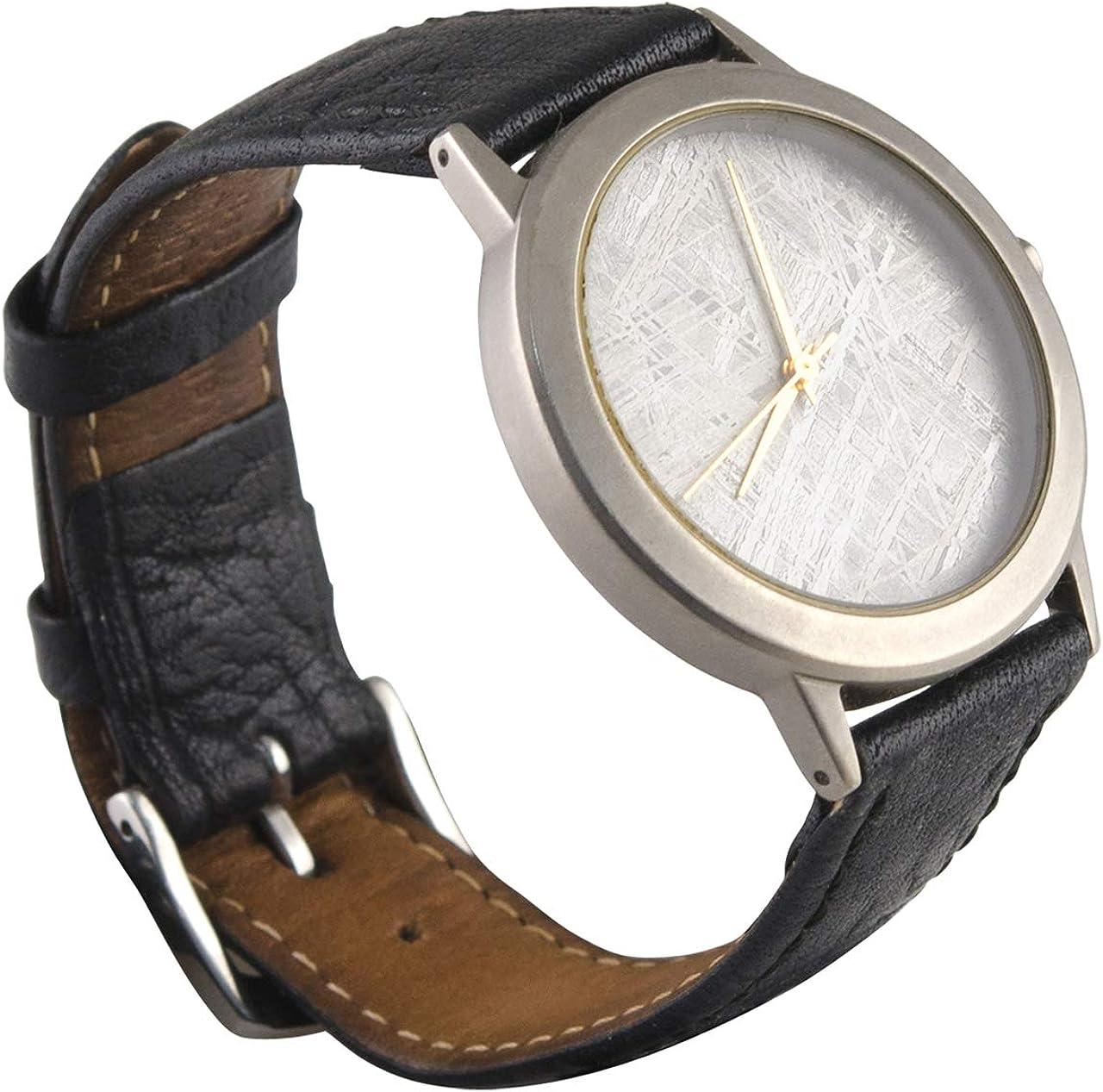 starborn Creations Gran Cara auténtica meteorito Gibeon Reloj con Banda de Cuero Negro