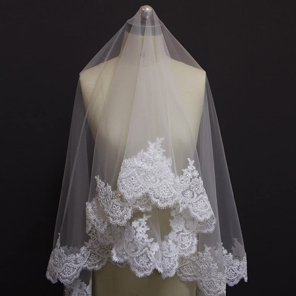 Large-scale sale HUIJK Veil Sequins Lace Chapel Comb Without 2 Wedding Omaha Mall Meter