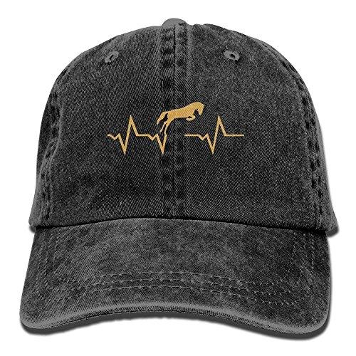 Hoswee Baseballmütze Hüte Kappe Adult Horse Heartbeat Denim Jeanet Baseball Hat Adjustable Trucker Cap