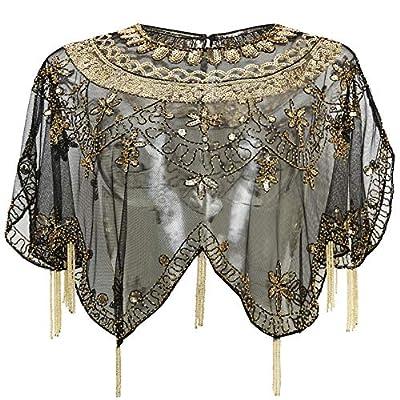 BABEYOND Sequin Beaded Evening Cape 1920s Fringed Shawl Wraps Wedding Bridal Shawl Scarf