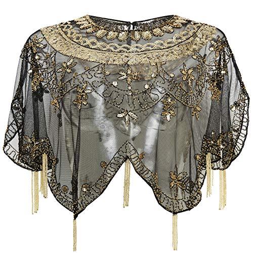 ArtiDeco Damen Umschlagtücher Stola für Abendkleid 1920s Retro Schal Hochzeit Party Braut Schal Gatsby Kostüm Accessoires (Schwarz Gold)