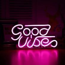 Dobre Wibracje Słowo Neon Neonowy Znak ścienny Wisząca Lampa z Neonowymi Literami Nocne światło Płyta Akrylowa dla Pokój S...