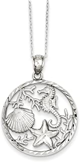 West Coast Jewelry Sterling Silver Seahorse, Starfish and Shell Pendant Necklace - 18 Inches Long