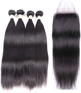 Brazilian Virgin Straight Hair Bundles with Closure 20 22 22 24 +18 4x4 Free Part With Baby Hair 100% Unprocessed Brazilian Straight Human Hair Bundles with Lace Closure Natural Black