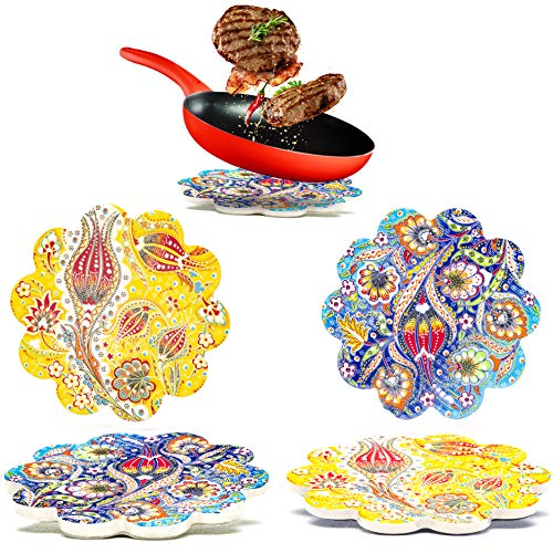 Dekorative Keramik-Untersetzer 2-Set – für Töpfe, Pfannen, Vasen Karaffen Kerzen – Großes 18 cm orientalisches Mandala Untersetzer Tischsets –Marokkanische Untersetzer Esstisch – Topfuntersetzer Set