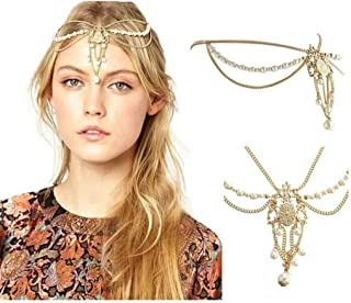 Yalice Pearl Hair Chain Beaded Bridal Headpieces Gold Tassel Hair Acessories for Women and Girls