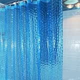Beautylife66 Duschvorhang durchsichtig Wannenvorhang Blau
