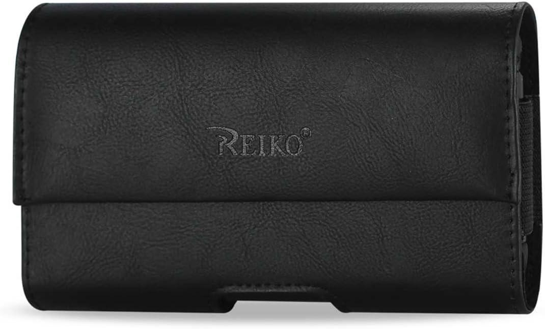 Horizontal Magnetic Closure Black Leather Case fits LG Exalt LTE Flip Phone