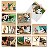 Cats and Chicks' Boxed Set of 10 Thank You Cards with Envelopes, Assortment of Pin Up Girls and Felines Gratitude Greeting Cards, Retro Cover Girls and Cats Thank Yous 4 x 5.12 inch M6484TYG