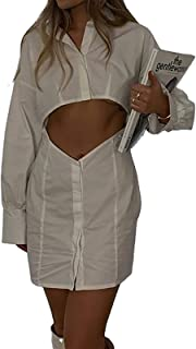 Soweilan - Abito da donna a maniche lunghe, scollo a V, con scollo a V, colore: Bianco