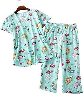 Women's Plus Size Pajama Sets Capri Pants with Short Tops Cotton Sleepwear Ladies Sleep Sets