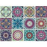 decalmile 12 Piezas Pegatinas de Azulejos 15x15cm Mexicano Mosaico Adhesivo Decorativo para Azulejos Cocina Baño Decoración