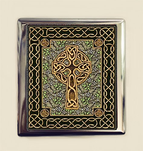 Celtic Cross Cigarette Case Business Card ID Holder Wallet Ireland Irish